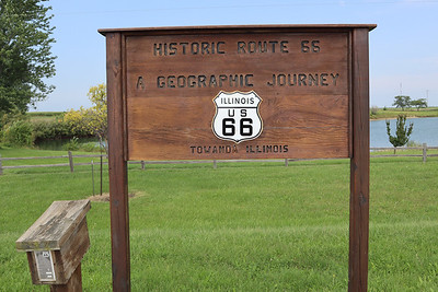Route 66 maker on the bicycle path near Towanda IL