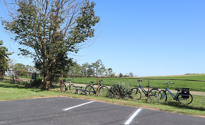 A line of bicycles along the fence at the edge of the Moorhead Mennonite Church parking lot. It was immediately apparent, but the lane leads to a school located adjacent to the church grounds.