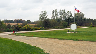 Looking northwest from the driveway of the Mantorville Town Hall