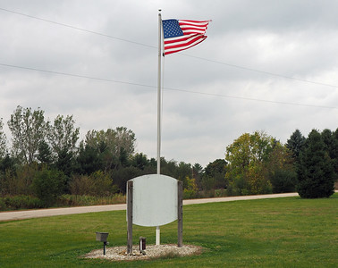 Back side of the Mantorville Town Hall sign
