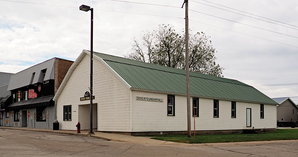 """Dover Township Hall"" is what the sign on the side of the building. The front says, ""Dover Town Hall."""