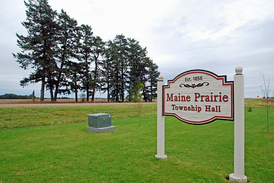 Maine Prairie Township Hall sign