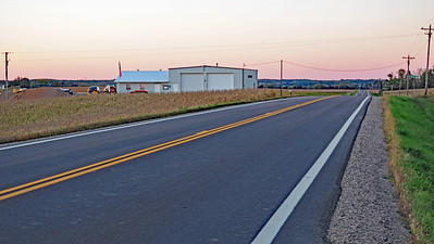 Approaching Albion Township Hall as the last bit of sun was dropping below the horizon.