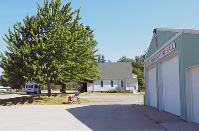 Looking north up the street from Clyde Township Fire Hall with