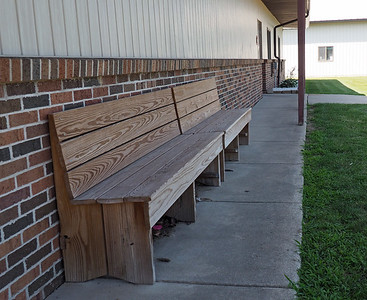Bench outside the Gun Plain Township Hall