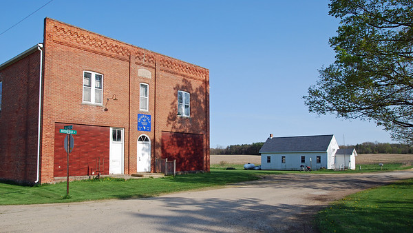 Brookfield Masonic Temple with the Brookfield Township Hall in the background