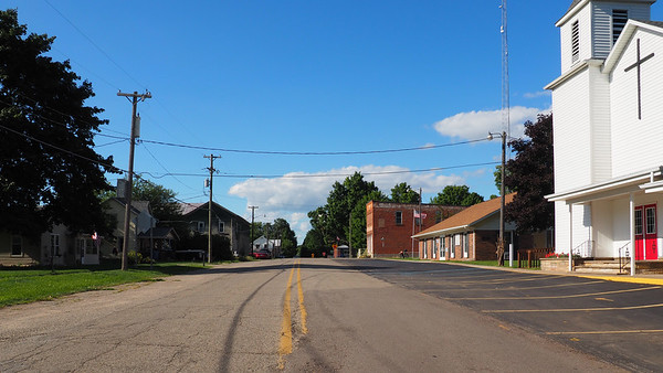 Looking north past Jefferson Township Hall in Osseo