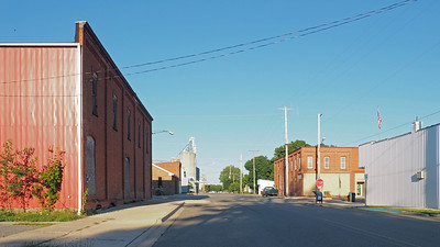 The Wright-Waldron Municipal Building is down the street (to the east) on the near side of the elevators, on the left