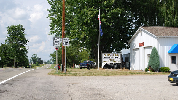 Looking north past the Argyle Township Hall