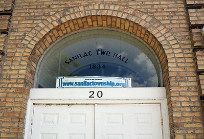 Sanilac Masonic Lodge and Town Hall entrance. (The 1834 date does not match any of the dates on the nearby historic marker.)
