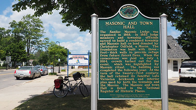 Historic marker for Sanilac Masonic Lodge and Town Hall