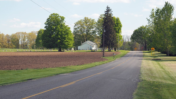 Approaching Flowerfield Township Hall from the north, on Brown Jug Road