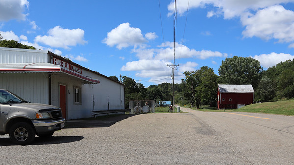 Looking west past the Fairfield Township Building