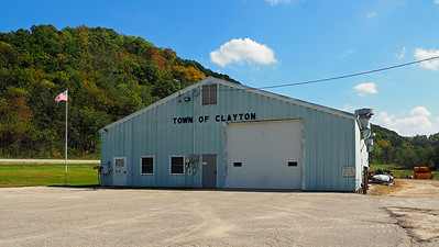 Clayton Town Hall (garage) on US Hwy 61, south of Soldiers Grove.