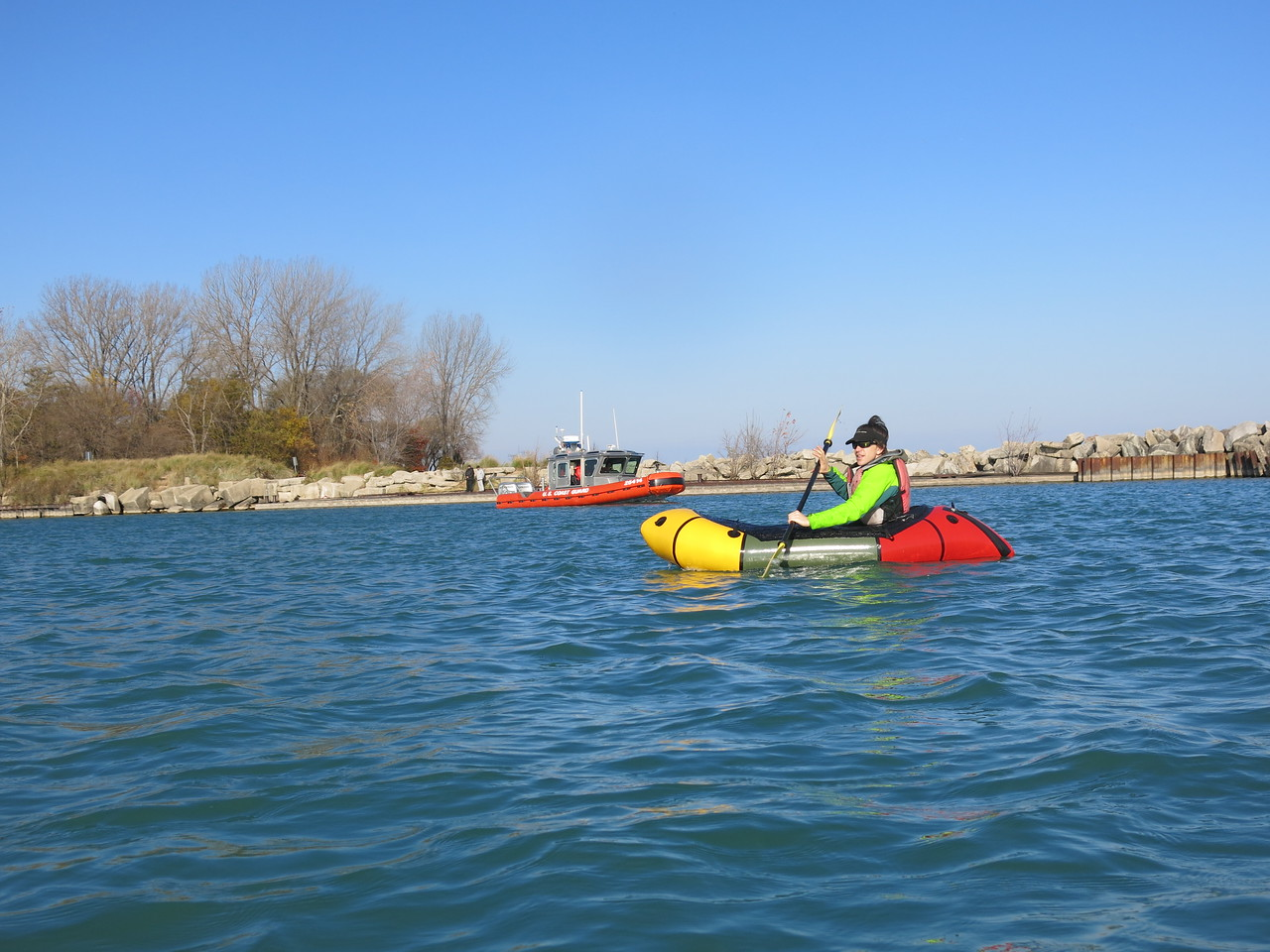 Tomas Ward, winner of 2014 end-of-the year giveaway, paddling around the harbor in Wilmette, IL.