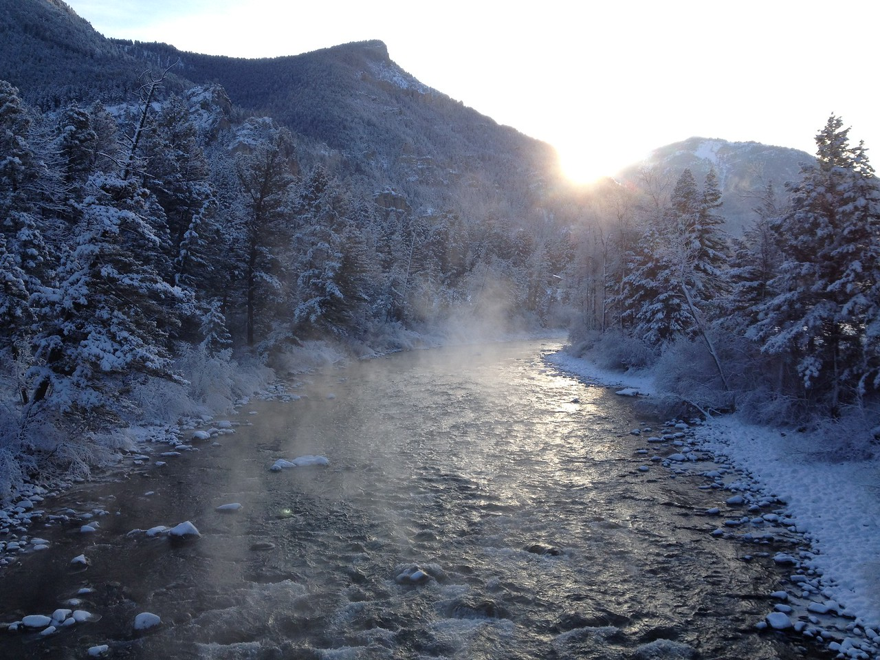 """Winter wonderland on the Gallatin River, as seen from Storm Castle Bridge.  Adventurers and Scientists for Conservation is expanding its Microplatics project to freshwater, and bringing it home to the Greater Gallatin Watershed. Become an adventure scientist and help them collect data from your home: <a href=""""http://www.adventurescience.org/microplastics.html"""">http://www.adventurescience.org/microplastics.html</a>"""