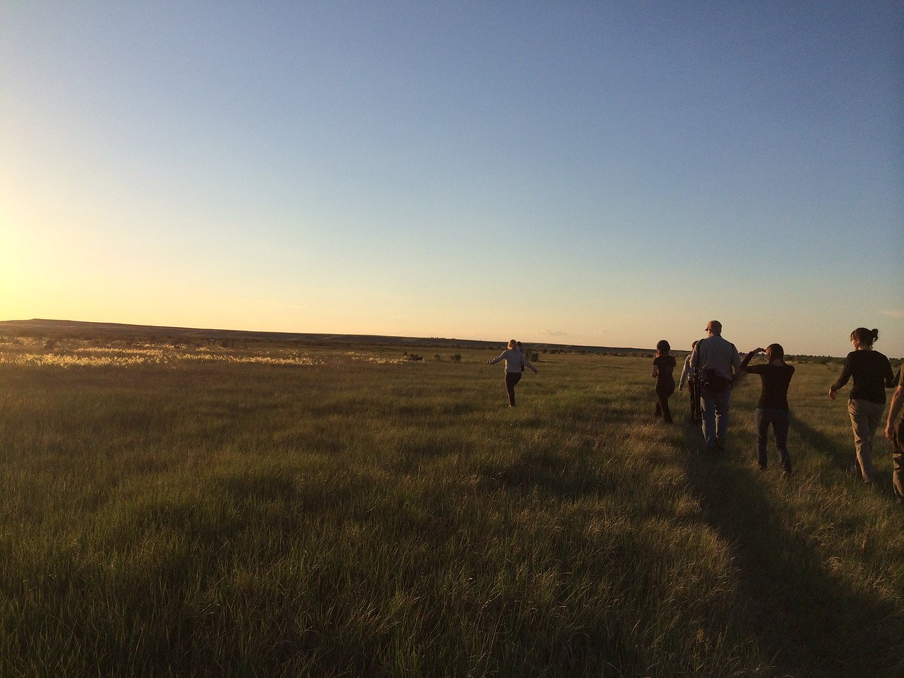 """Summer days are long on the Great Plains. Here, the June 2014 Adventurers and Scientists for Conservation Landmark volunteer crew takes an evening walk out to the prairie dog town after a day spent collecting wildlife data on the American Prairie Reserve. Learn how to join a crew at  <a href=""""http://www.adventurescience.org/landmark"""">http://www.adventurescience.org/landmark</a>."""