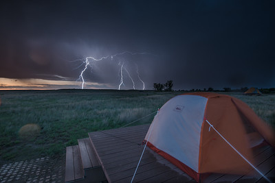 An electric storm as seen from ASC's Landmark field camp on the American Prairie Reserve. PHOTO BY MORGAN CARDIFF