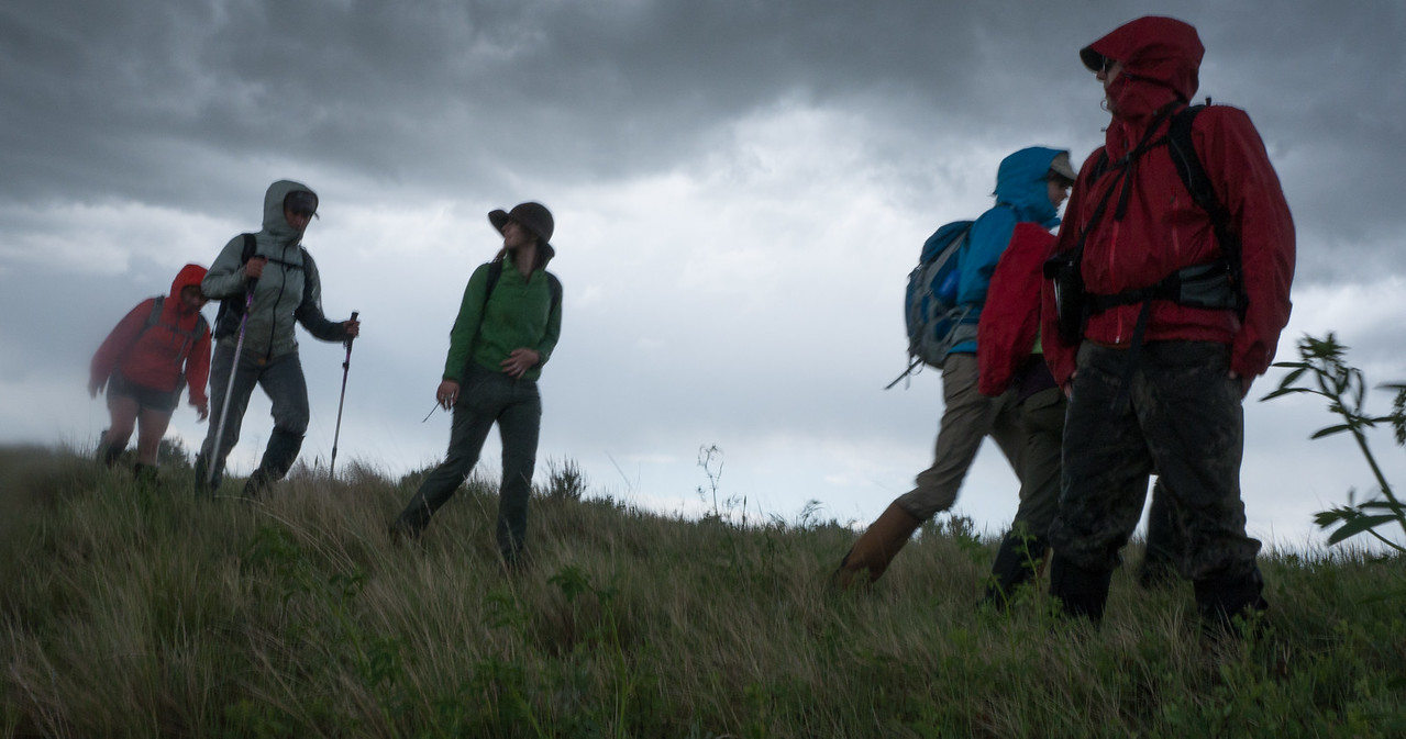 The June ASC Landmark crew negotiates a thunderstorm on the American Prairie Reserve PHOTO BY MIKE QUIST KAUTZ