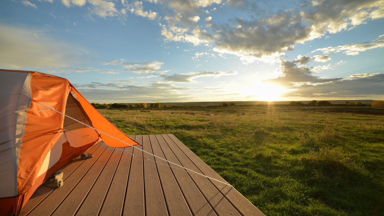 Sunrise as seen from ASC's Landmark field camp on the American Prairie Reserve. PHOTO BY MORGAN CARDIFF