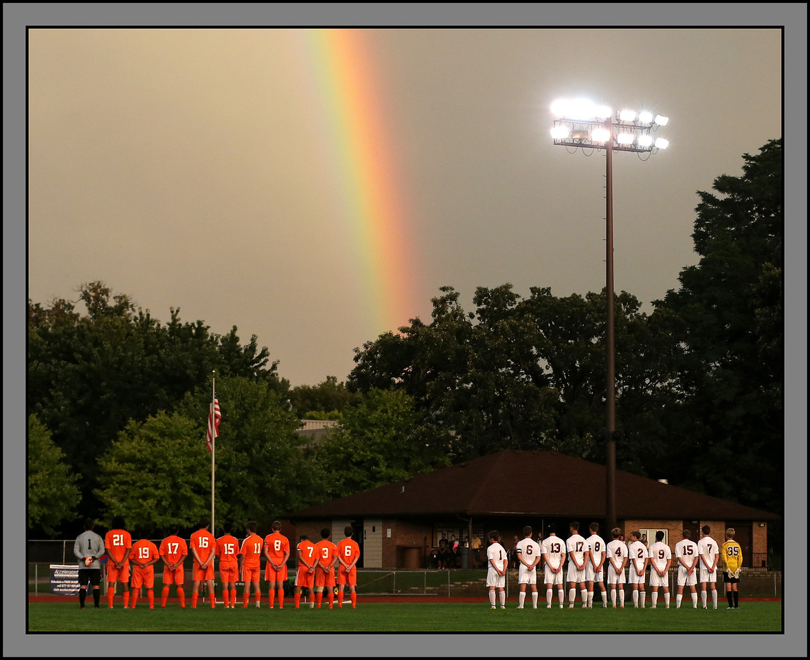 Shepard High School (orange) and Chicago Christian High School prepare to kickoff their soccer season with a match in Palos Heights, Illinois, August 25, 2014. | Allen Cunningham/For Sun-Times Media