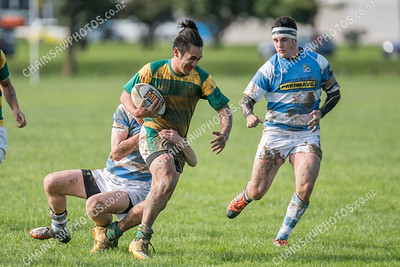 Action from the game Mana College 1st XV v St Patricks College 2nd XV at Elsdon Park, Porirua on 20 May 2017. More photos at www.chainsawphotos.co.nz.