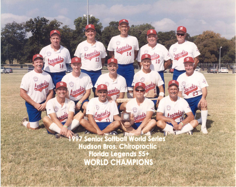 Sponsored by Hudson Brothers, the Legends 55+ team won the Senior Softball World Series in Garland, Texas in August 1997.