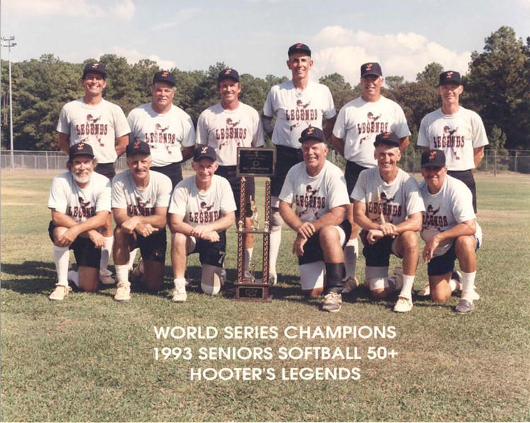 Sponsored by Hooter's, the Forida Legends won the Senior Softball World Series in September 1993 in Houston, Texas.