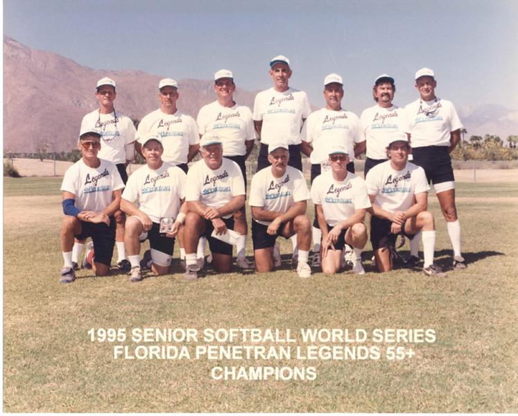 The Florida Legends 55+ team, sponsored by Florida Penetran, won the Senior Softball World Series in Palm Springs, CA, in September 1995.