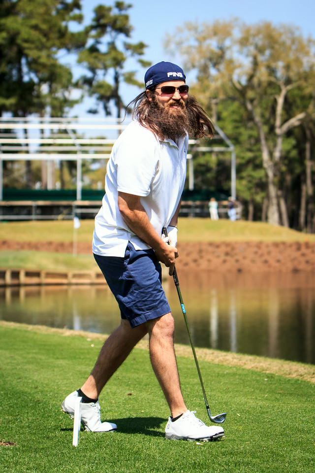 Jase Robertson after hitting the ball into the water on 17