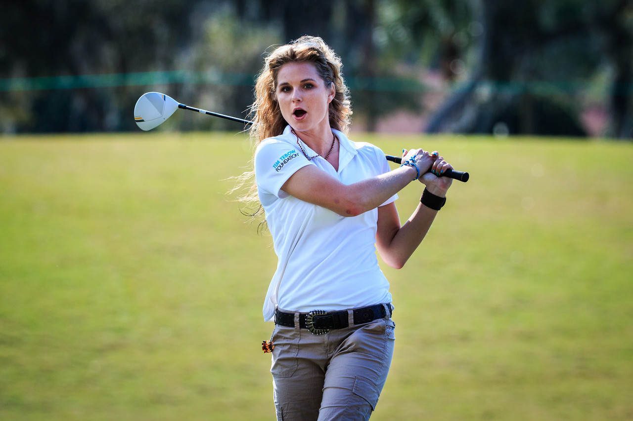 This is Kristy Lee Cook showing concern for yours truly as her ball flew within a foot of me.  At least that's what I'm told.  I never actually saw the ball. :)