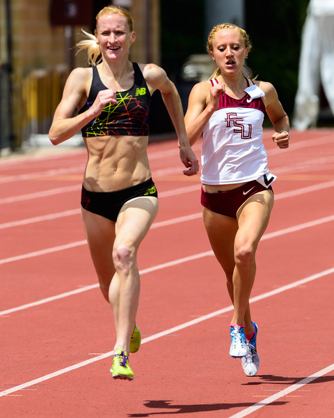 Tallahassee, FL.  Amanda Winslow, Barbara Parker battle in the women's 1500m at FSU Seminole Invitational 2012.  Winslow would go on to post a national record of 4:13.75