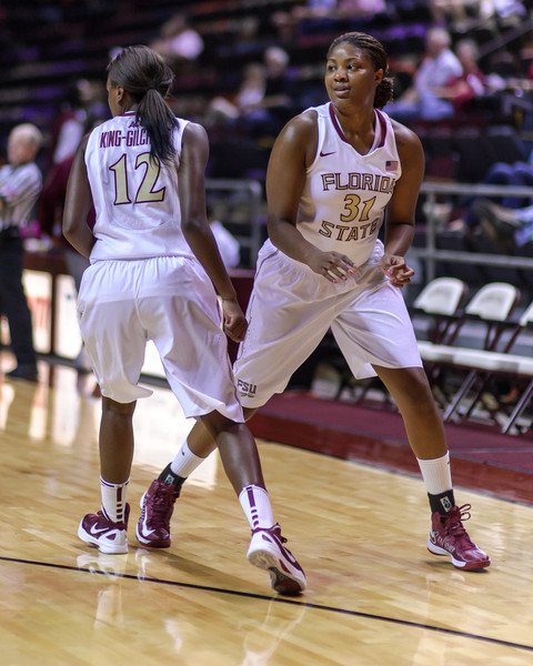 Tallahassee - FL - November 2012: (FSU Player) Jersey# of Florida State (shoots on / drives past / dribbles past / blocks the shot of) (opposing player) (opposing player jersey#) of the (opposing team name) during the game at Tallahassee Leon County Civic Center on November 3, 2012 in Tallahassee, FL.  Copyright 2012 Perrone Ford. (Photo by Perrone Ford / PTFPhoto.com)
