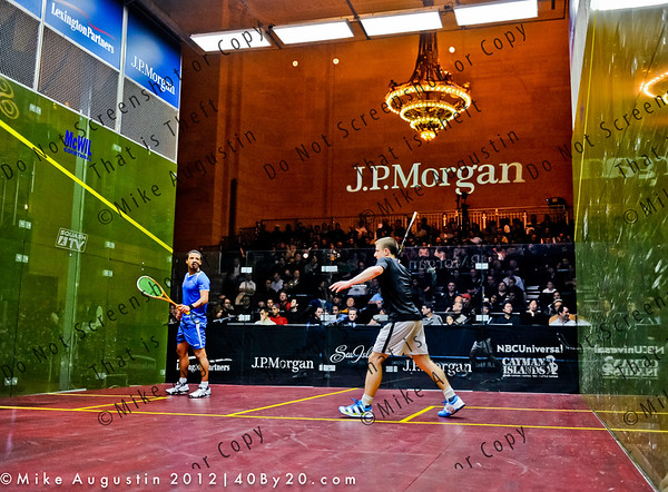 The magnificent glass squash court setup at the 2012 JP Morgan Tournament of Champions form Grand Central Station in NYC, Jan 20-26, 2012.