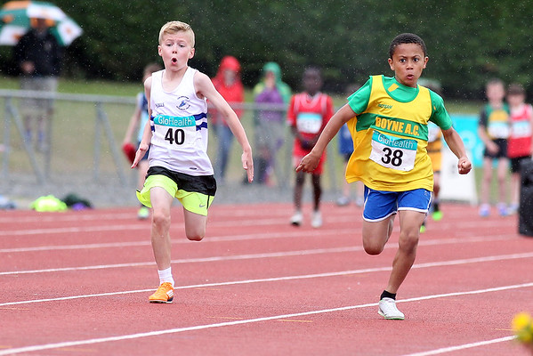 Killian Ekhator (Boyn AC) and Sam Kelly (Cellbridge AC) in the boys U/10 60m sprint