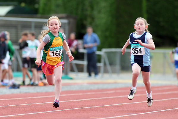 Aine Power (354 Carrick On Suir AC) Clodagh Clarke (168 Annalee AC) in the girls U/9 60m sprint