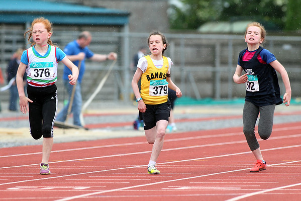 Aislinn henchy (372 BelgooleyAC) Leagh Moloney ( 376 Limerick) and Amy Mccarthy (379 bandonAC) in the girls U/10 60m sprint