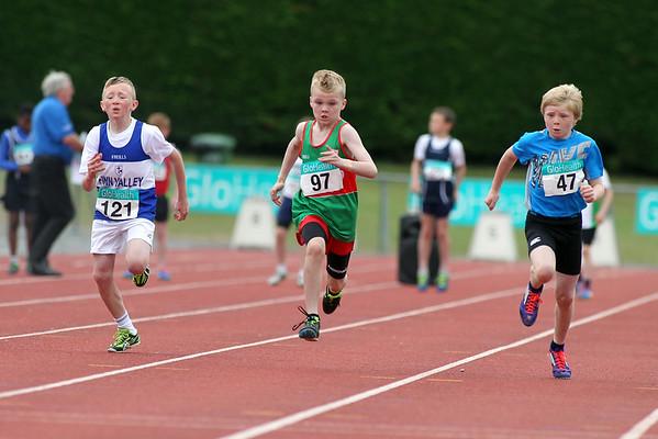 Adam Quinn ( 97 Suncroft AC) Mathew Farrell (47 St L O'Toole AC) Rossa McDaid ( 121 Finn Valley AC) in boys U/11 60m sprint
