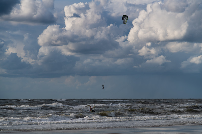 Jumping Kitesurfer in the North Sea