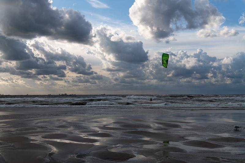Kitesurfing just before the Sunset