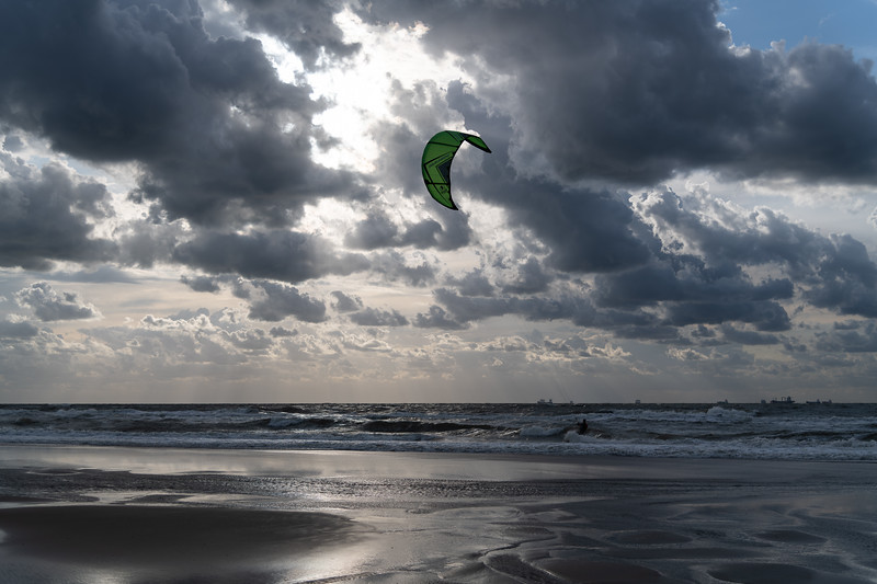 Kitesurfing against the sun