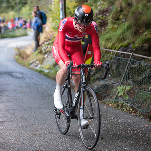 Andreas Vangstad up Mount Fløyen up Mount Fløyen in The Cycling Road World Championships Men Elite Individual Time Trial 20/9-2017.