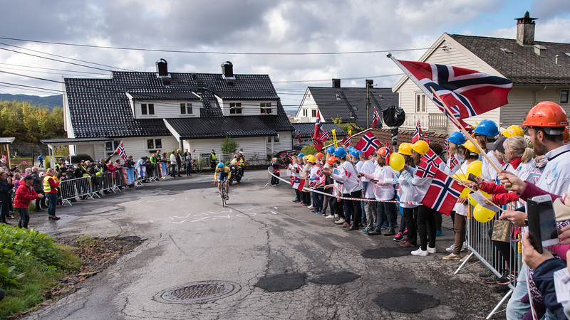L. De Plus up Mount Fløyen in The Cycling Road World Championships Men Elite Individual Time Trial 20/9-2017.