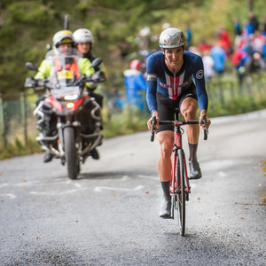 Joseh Rosskopf up Mount Fløyen up Mount Fløyen in The Cycling Road World Championships Men Elite Individual Time Trial 20/9-2017.