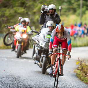 Alexander Evtushenko up Mount Fløyen up Mount Fløyen in The Cycling Road World Championships Men Elite Individual Time Trial 20/9-2017.