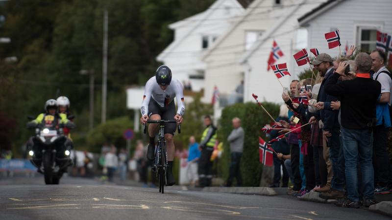 J. Sutterlin up Mount Fløyen in The Cycling Road World Championships Men Elite Individual Time Trial 20/9-2017.