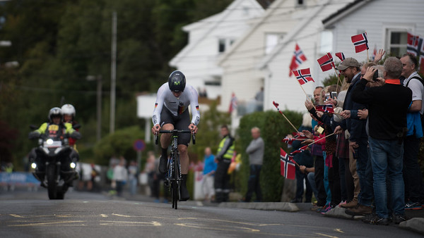 J. Sutterlin up Mount Fløyen in The Cycling Road World Championships Men Elite Individual Time Trial 20/9-2017.