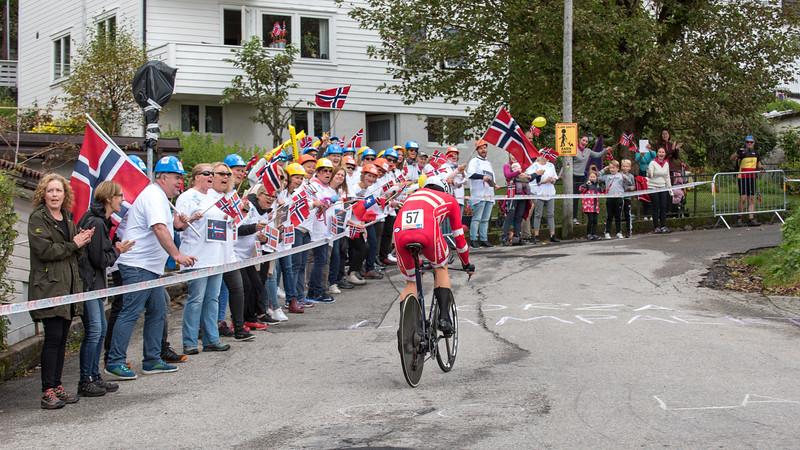 L. N. Hansen up Mount Fløyen in The Cycling Road World Championships Men Elite Individual Time Trial 20/9-2017.