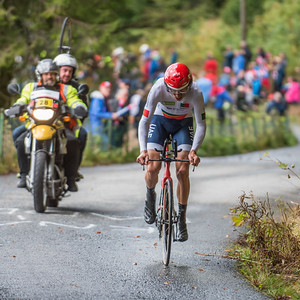 Rui Costa up Mount Fløyenup Mount Fløyen in The Cycling Road World Championships Men Elite Individual Time Trial 20/9-2017.