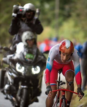 Alexander Evtushenko up Mount Fløyen up Mount Fløyen in The Cycling Road World Championships Men Elite Individual Time Trial 20/9-2017.